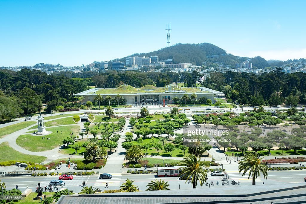 Aerial view of Golden Gate Park and the California Academy of Sciences, including Music Concourse Drive, San Francisco, California, July, 2016. (Photo by Smith Collection/Gado/Getty Images).