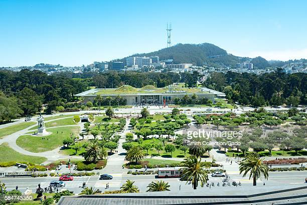 Aerial view of Golden Gate Park and the California Academy of Sciences including Music Concourse Drive San Francisco California July 2016