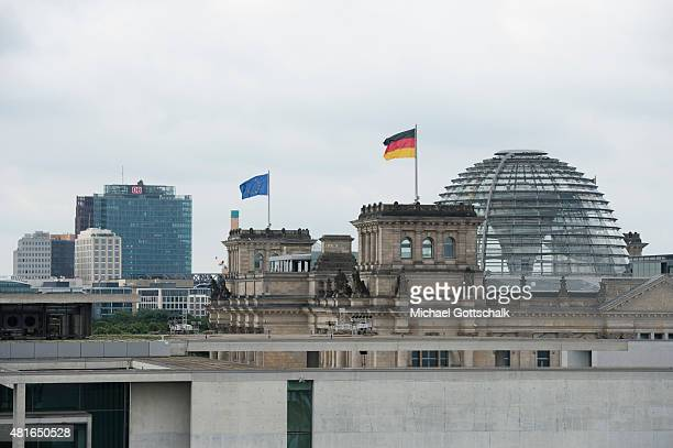 Aerial view of government quarter with Reichstag Potsdamer Platz or Potsdam square and Deutsche Bahn AG headquarters on July 21 2015 in Berlin Germany