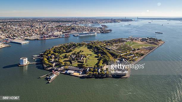 aerial view of governors island - governors island stock pictures, royalty-free photos & images