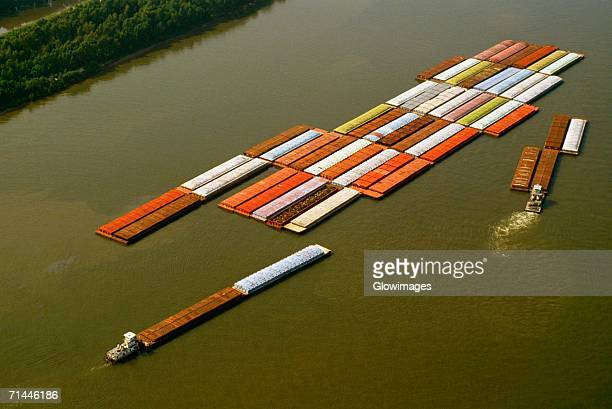 aerial view of grain barges on the river, mississippi river, new orleans, louisiana, usa - barge stock photos and pictures