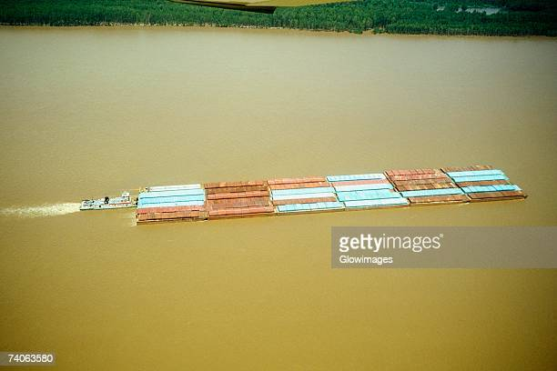 aerial view of grain barges on the river, mississippi river, new orleans, louisiana, usa - river mississippi stock photos and pictures