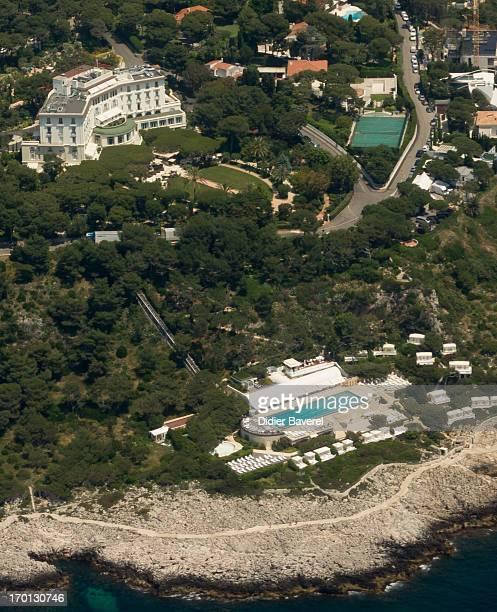 Aerial view of Grand Hotel du Cap Ferrat where Tamara Ecclestone and Jay Rutland's wedding is planed this weekend on June 7 2013 in...