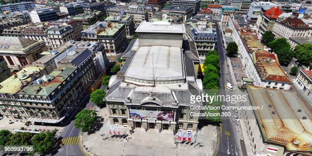 aerial view of grand theatre de geneve - opera house in geneva, switzerland - grand theatre de geneve stock pictures, royalty-free photos & images