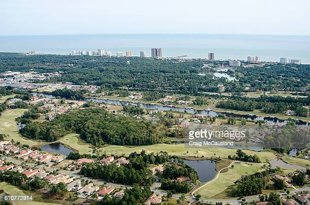 aerial view of grande dunes in myrtle beach, south carolina - myrtle_beach stock pictures, royalty-free photos & images
