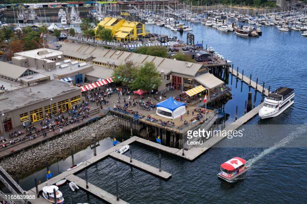 aerial view of granville island, vancouver, canada - aquatic organism stock pictures, royalty-free photos & images