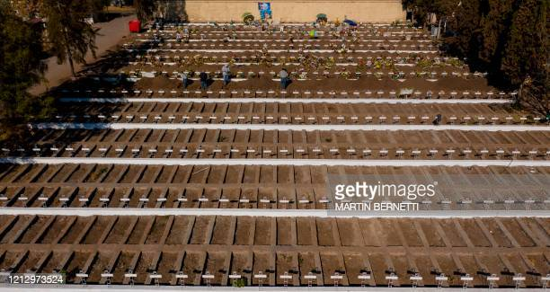 Aerial view of graves already dug at the General Cemetery in Santiago May 14 amid the new coronavirus pandemic Health authorities ordered the General...