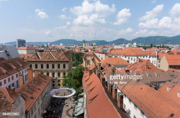 Aerial View of Graz from Schlossberg Hill, Graz, Styria, Austria
