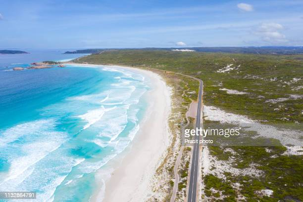 aerial view of great ocean drive in esperance, western australia, australia. - western australia stock pictures, royalty-free photos & images