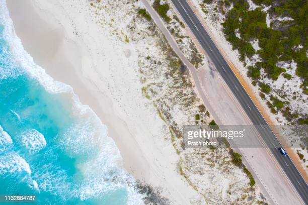 aerial view of great ocean road in victoria, australia - road stock pictures, royalty-free photos & images