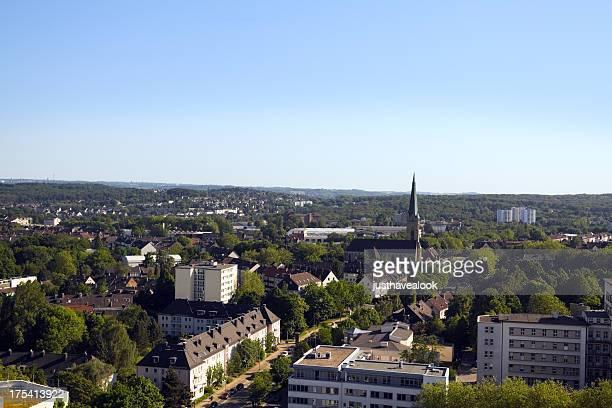 Veduta aerea di città verde Essen