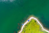 aerial view green island lake pontoon