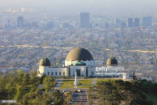 Aerial view of Griffith Observatory and downtown LA