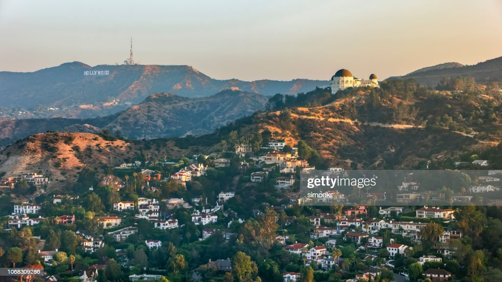 Aerial view of Griffith Observatory with the Hollywood Sign seen in the distance : Stock Photo