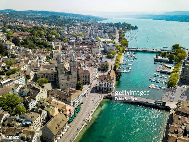 aerial view of grossmünster cathedral in zürich, switzerland - チューリッヒ ストックフォトと画像