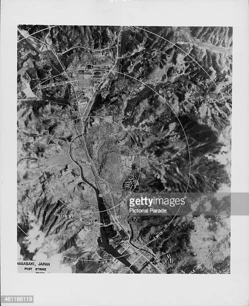 Aerial view of ground zero following the US atomic bomb attack on Nagasaki during World War Two, Japan, 1945.