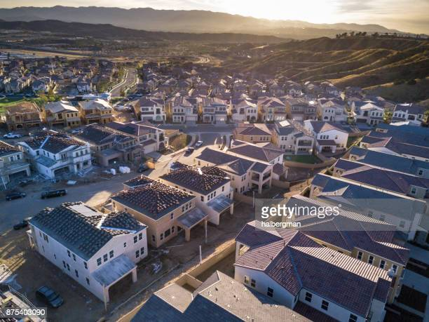 aerial view of growing american suburb - santa clarita stock pictures, royalty-free photos & images