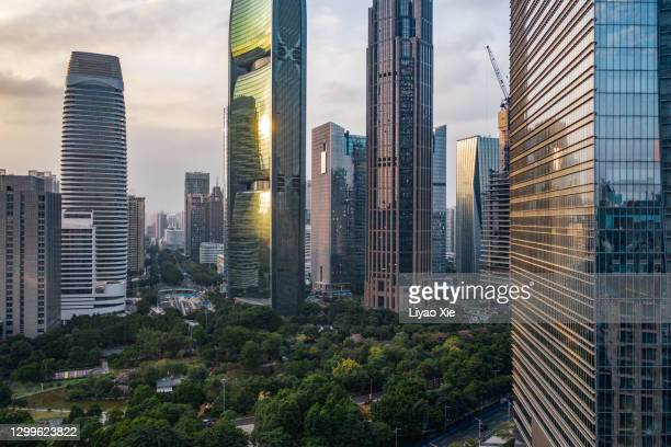 aerial view of guangzhou cbd - liyao xie stock pictures, royalty-free photos & images