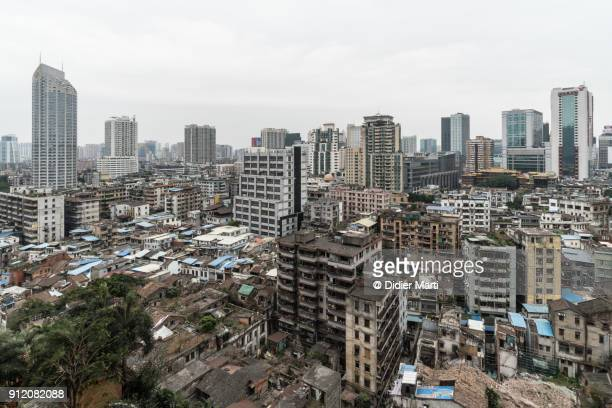 Aerial view of Guangzhou cityscape near the Beijing road in Guangdong, China