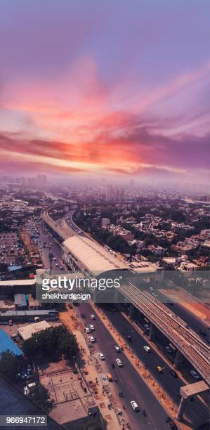 aerial view of gurugram city - haryana stock pictures, royalty-free photos & images