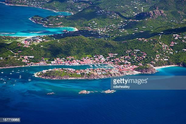 Vue aérienne de Gustavia, Saint-Barth/Bleu dans les Antilles françaises