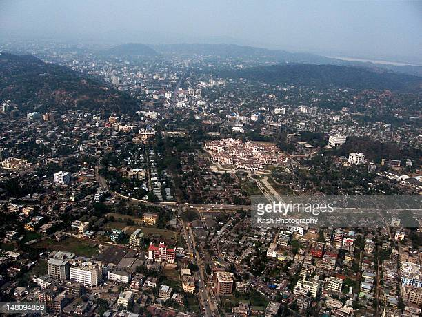 aerial view of guwahati - guwahati stock photos and pictures
