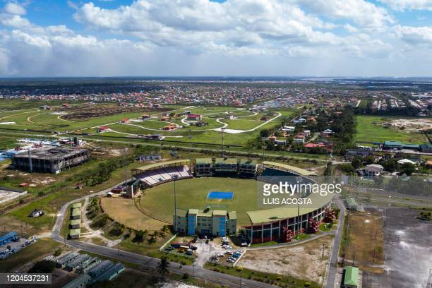 Aerial view of Guyana National Stadium in Georgetown Guyana on March 1 2020 The stadium was built specifically to host Super Eight matches in the...