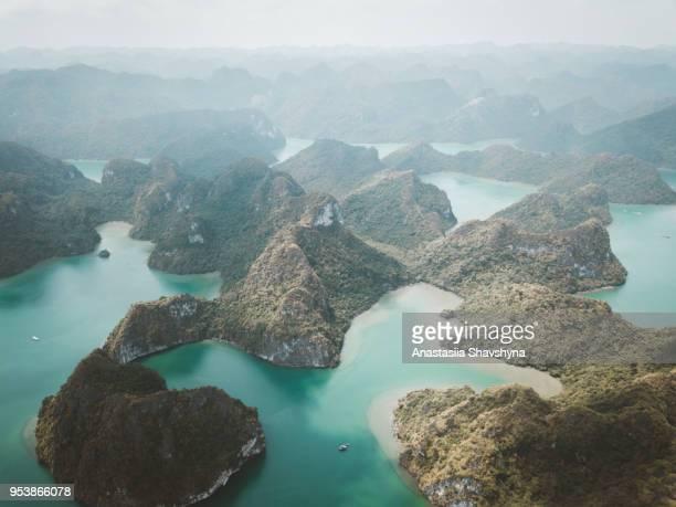 aerial view of ha long bay in vietnam - halong bay imagens e fotografias de stock