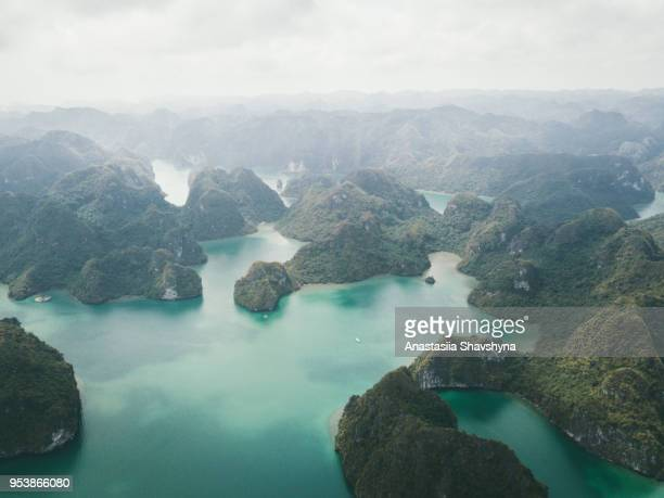 aerial view of ha long bay in vietnam - halong bay stock pictures, royalty-free photos & images