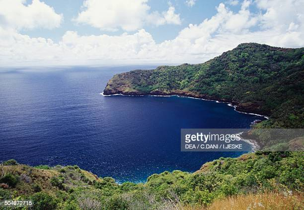 Aerial view of Haatuatua Bay Nuku Hiva Marquesas Islands French Polynesia Overseas Territory of France