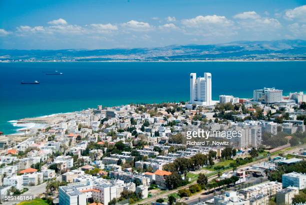 aerial view of haifa - haifa stock pictures, royalty-free photos & images