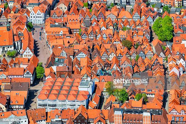 aerial view of half-timbered houses in celle , lower saxony - celle stock photos and pictures