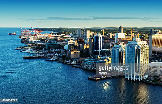 aerial view of halifax skyline - atlantic ocean stock pictures, royalty-free photos & images