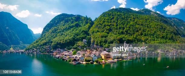 aerial view of hallstatt, austria - hallstatt stock pictures, royalty-free photos & images