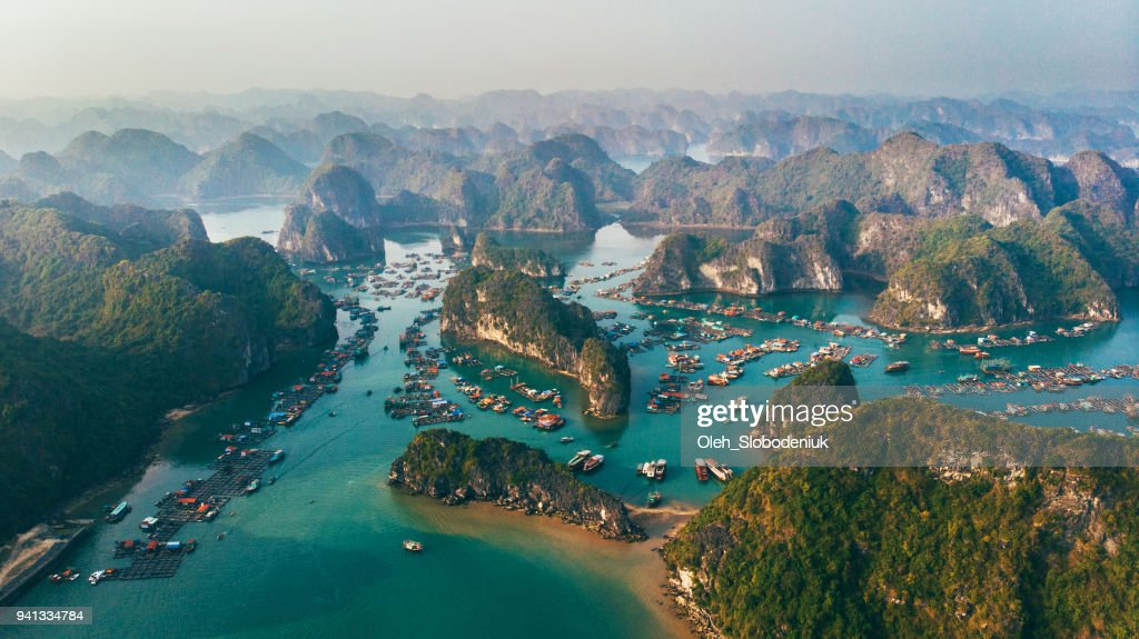 Aerial view of Halong Bay in Vietnam : Stock Photo
