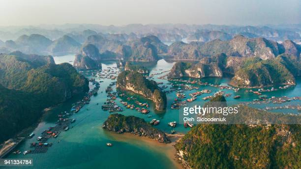 aerial view of halong bay in vietnam - vietnam imagens e fotografias de stock