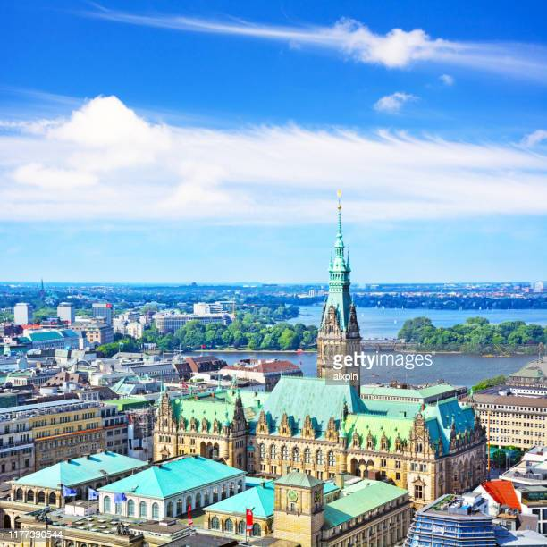 aerial view of hamburg city hall - amburgo foto e immagini stock