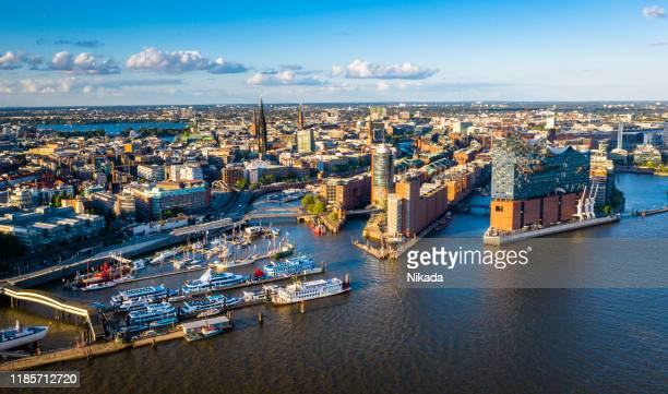 aerial view of hamburg hafen city - hamburg germany stock pictures, royalty-free photos & images