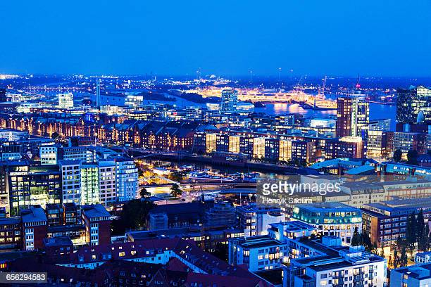 Aerial view of Hamburg with Speicherstadt Hamburg, Germany