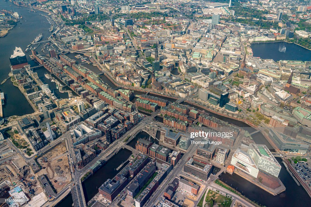 Aerial view of Hamburg-Speicherstadt -HafenCity : Stock Photo