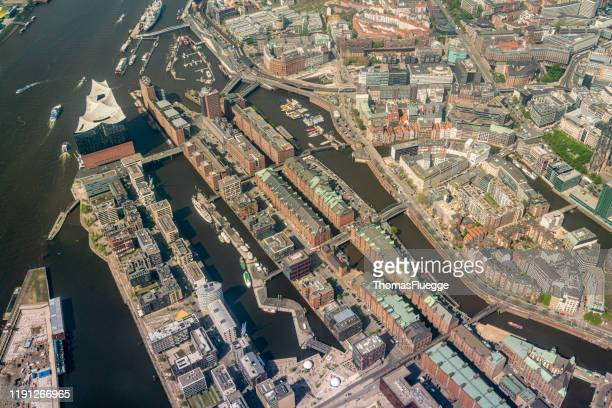 aerial view of hamburg-speicherstadt -hafencity - stadtsilhouette stock pictures, royalty-free photos & images