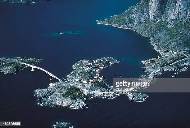 Aerial view of Hamnoy Lofoten Islands County Nordland Norway