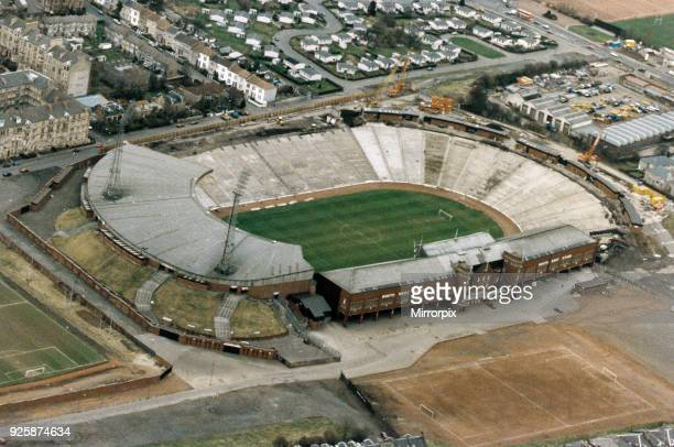 Aerial View of Hampden Park Stadium, Glasgow, Scotland, February 1993.