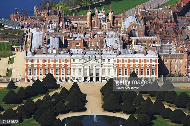 aerial view of hampton court in london, england - hampton court stock pictures, royalty-free photos & images