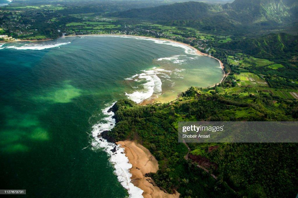 Aerial view of Hanalei Bay, Kauai. Hawaii : Stock Photo