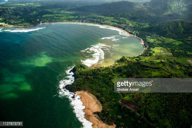 aerial view of hanalei bay, kauai. hawaii - kauai stock pictures, royalty-free photos & images