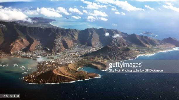 aerial view of hanauma bay hawaii - オアフ島 ストックフォトと画像