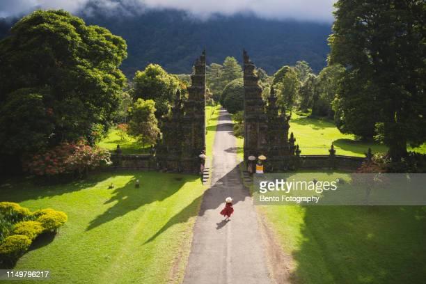 aerial view of handara gate, bali, indonesia - bali stock-fotos und bilder