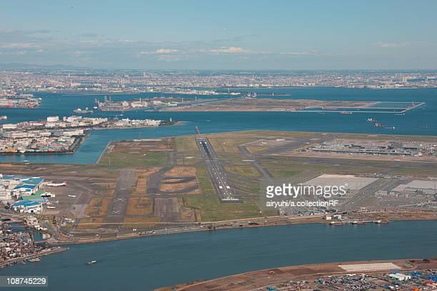 Aerial view of Haneda airport, Shinagawa ward, Tokyo Prefecture, Honshu, Japan