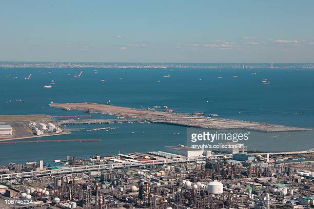 Aerial view of Haneda airport under construction, Ohta ward, Tokyo Prefecture, Honshu, Japan